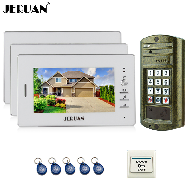 JERUAN NEW 7`` Video Intercom Doorbell System kit 3 Monitor + Metal panel Waterproof Access Password keypad HD Mini Camera 1V3