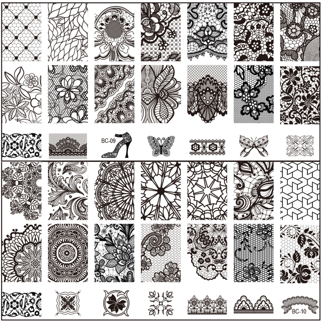 Free shipping Black lace Flower 10Pc/lot New 6*12CM Nail Tool Art Stamp Stamping Stainless Steel Image Plate  Template