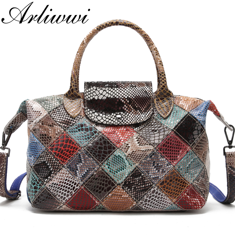 Arliwwi Brand Designer Women Genuine Leather Handbags Handmade Patchwork Female Real Leather Colorful Bags New Fashion