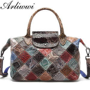 Image 1 - Arliwwi Brand Designer Women Genuine Leather Handbags Handmade Patchwork Female Real Leather Colorful Bags New Fashion GB08