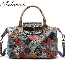 Arliwwi marca designer feminina bolsas de couro genuíno artesanal retalhos feminino couro real colorido sacos nova moda gb08