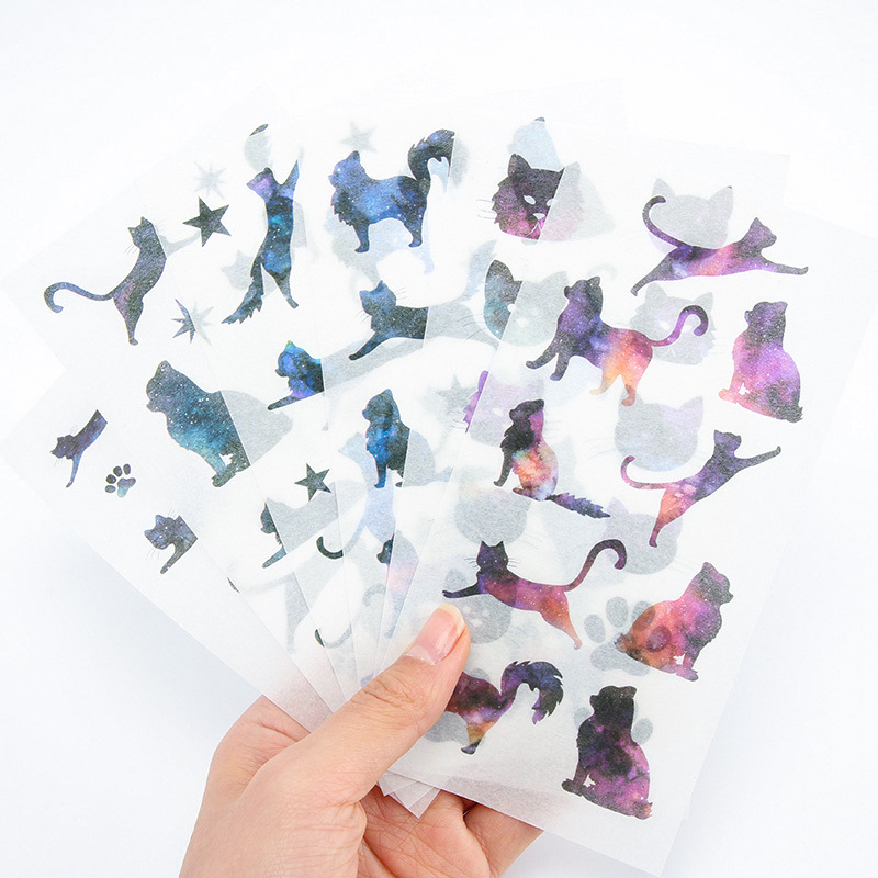 6pcs/lot Japanese Washi Paper Galaxy Cat Stickers Scrapbooking Diary Cute Journal Sticker Self-Adhesive Decor Kawaii Stationery