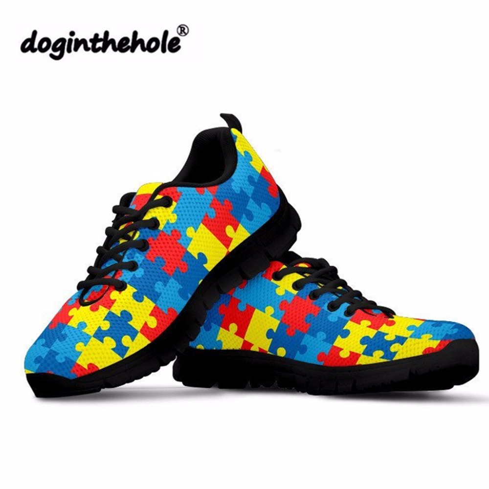 doginthehole Women Flat Shos for Teenager Girls Autism Awareness Printing Sneakers Feminine Fashion Lace-up Mesh Shoes Footwear