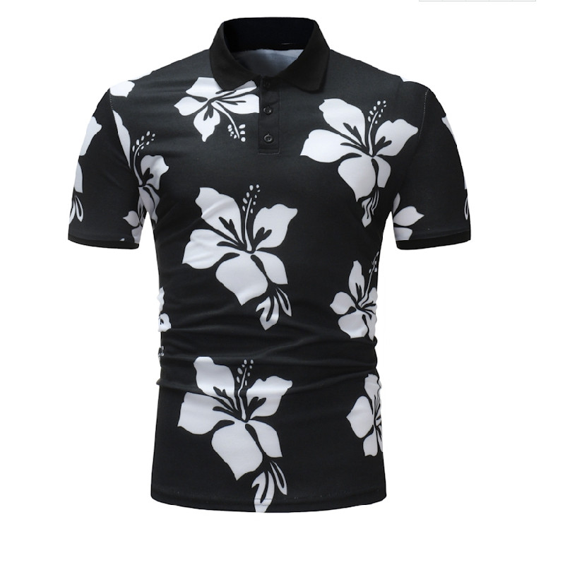 Men's 2019 Summer Fashion Mens Flower   Polo   Shirt High Quality Short Sleeve Men's   Polo   Shirt Brand Breathable