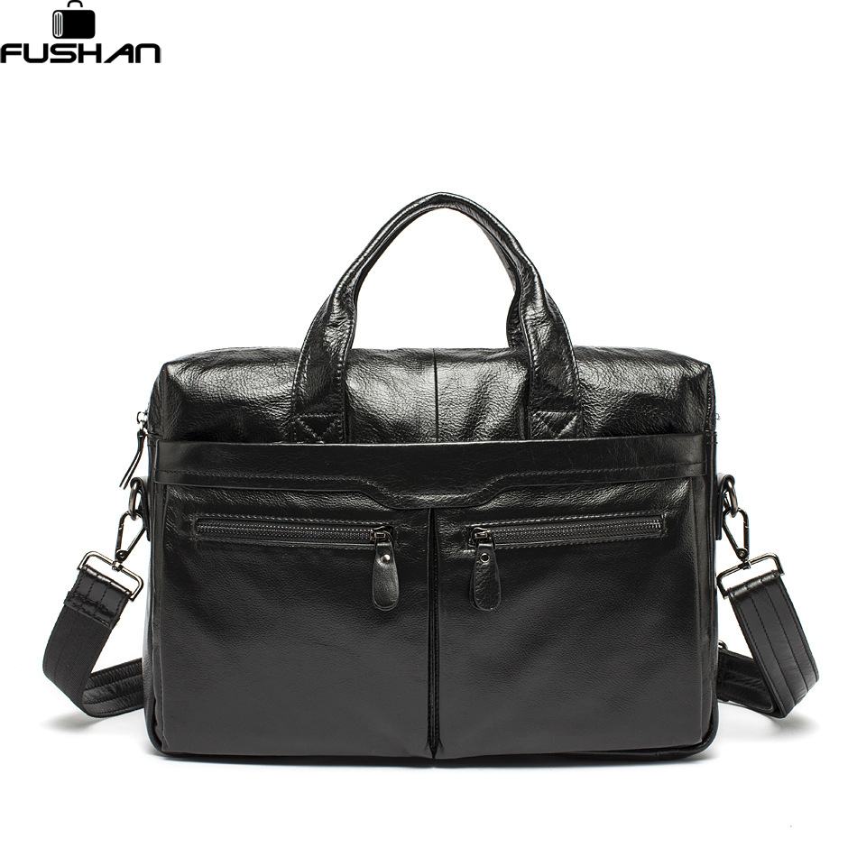 ФОТО 100% Genuine Leather bags shoulder Vintage Leather Men's Black Briefcase Laptop Bag men Messenger bags Cowhide Handbag totes