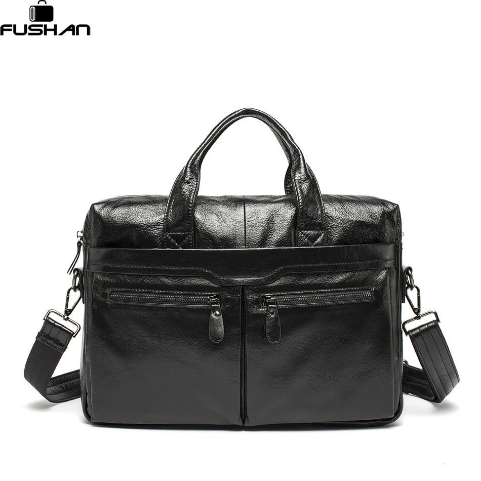 ФОТО 100% Genuine Leather bags shoulder Vintage Men's Black Briefcase Laptop Bag men Messenger Cowhide Handbag totes