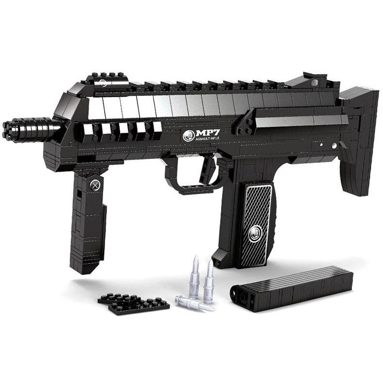 508 PCS DIY Nerfs Elite Gun MP7 Submachine Gun Machine Carbine Toy Gun Model Building Block Set Plastic Toy Gift For Children