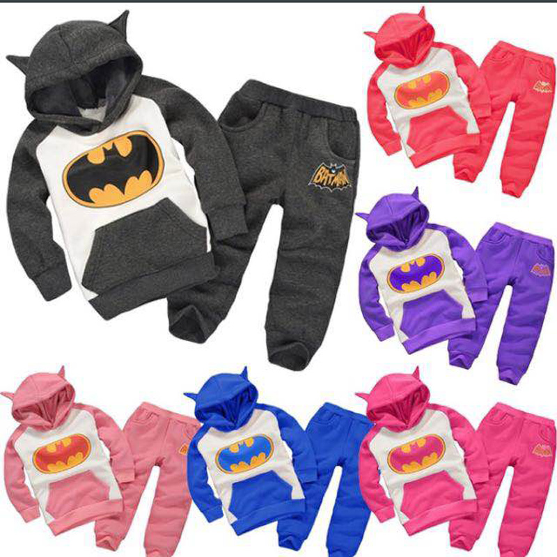 Children Clothing Sets Autumn Winter Cartoon Batman Boys Girls Tracksuit Children Hooded Coat+Pants 2pcs Kids Clothes Set autumn winter girls children sets clothing long sleeve o neck pullover cartoon dog sweater short pant suit sets for cute girls