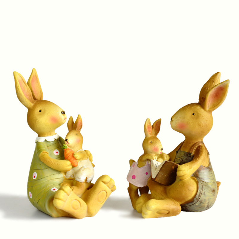 Home 2 Piece Green Ornament Hand Rabbit Bunny Resi