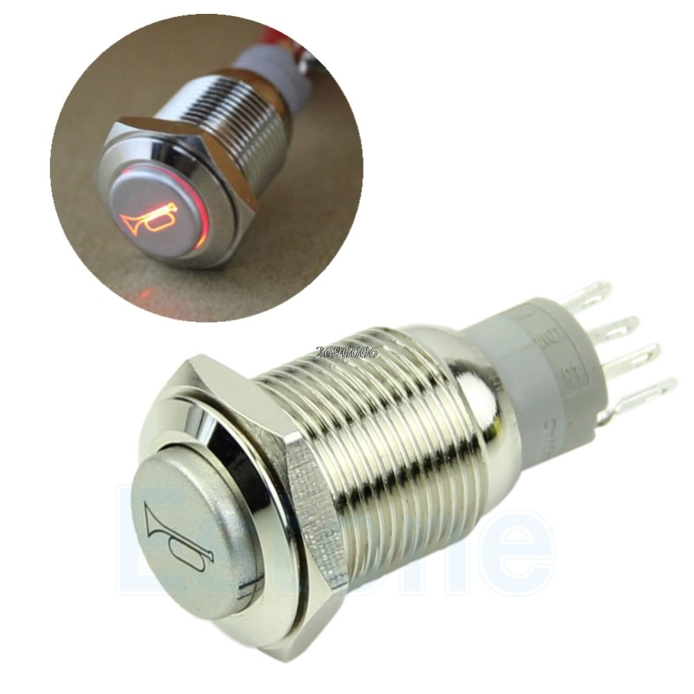 New 12v Led Momentary Horn Button Metal Switch 16mm Push Of Switches Spst Should Only Require Two Terminals Lighted Pifajia