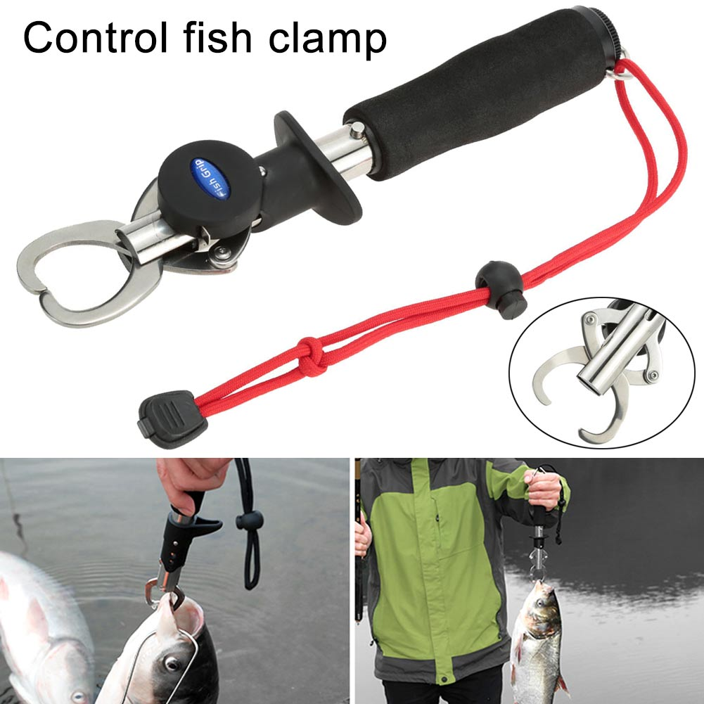Newly Fish Clamp Control Stainless Steel Fishing Lip Grip Holder Grabber Pliers With Weight Scale Tool YA88