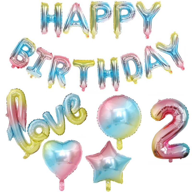 32inch Rainbow Gradient Love Happy <font><b>Birthday</b></font> <font><b>20th</b></font> 30th 50th Letter Foil Number Balloon Wedding 1st <font><b>Birthday</b></font> Party <font><b>Decor</b></font> Globos image