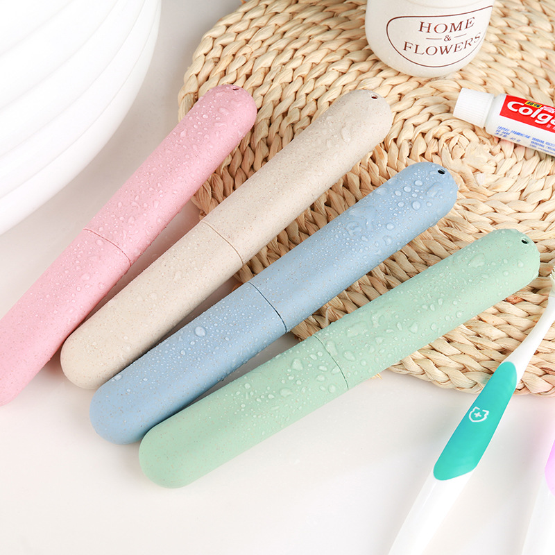 1pcs Wheat Straw Portable Travel Toothbrush Protect Holder Case Hiking Camping Toothbrush Box Storage Cup Cap image