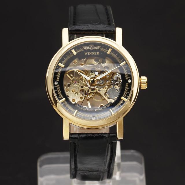 2016 VENCEDOR Marca Moda Men Mecânica Mão-Vento Esqueleto Dial Pulseira de Couro Genuíno Relógio de Pulso Estilo Clássico Presente Masculino relógio