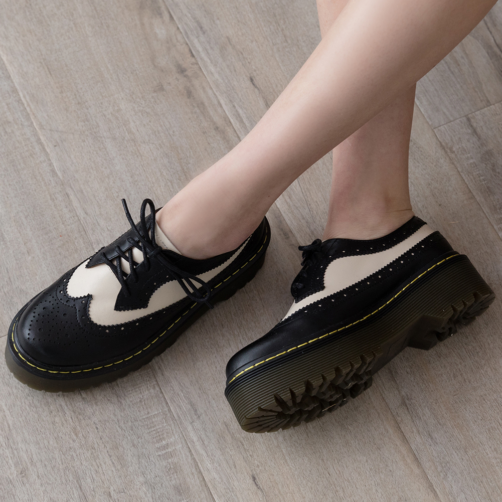 brand full grain genuine leather fashion girls brogue Shoes Woman Flats Female British Style thick bottom Women Shoes 2019