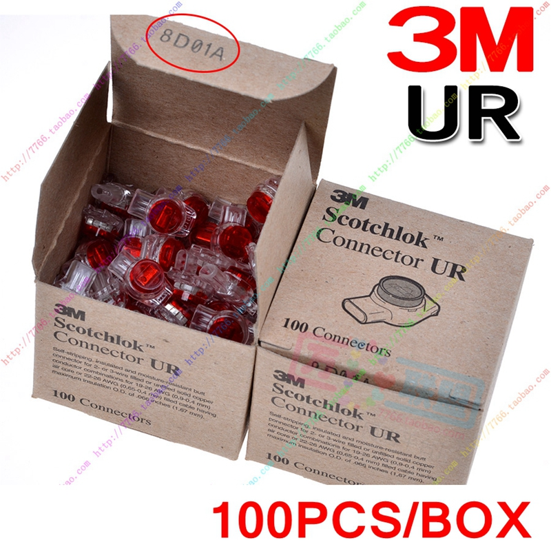 100% Genuine 100PCS/LOT 3M Scotchlok UR K3 Butt Connector Single Blades 3 Conductor Connector For 19-26 AWG 0.4-0.9mm Wires