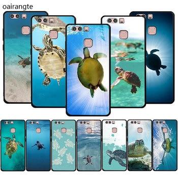 Żółw morski Aqua miękka TPU telefon pokrywy skrzynka dla Huawei P9 P10 P20 P30 P40 Pro Lite Mini P inteligentny Z Plus 2018 2019