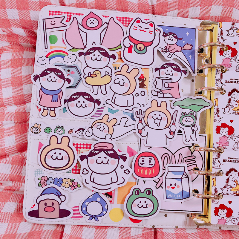 22pcs - Packs Cute Cartoon Funny Magic Girl Stickers Album Letter Kawaii Decoration Material Hand Ac