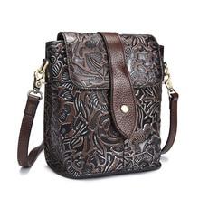 Famous Women Embossed Flower Shoulder Bags Female Vintage Messenger Bag High Quality Genuine Leather Ladies Small Handbag Flap