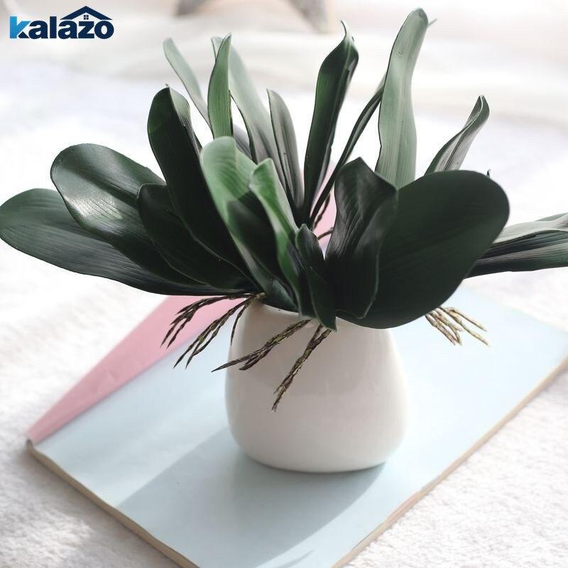1Pcs Green Phalaenopsis Leaf Artificial Plant DIY Wreath Gift Wedding Home Decorative Fake Flower Silk Orchid Leaves