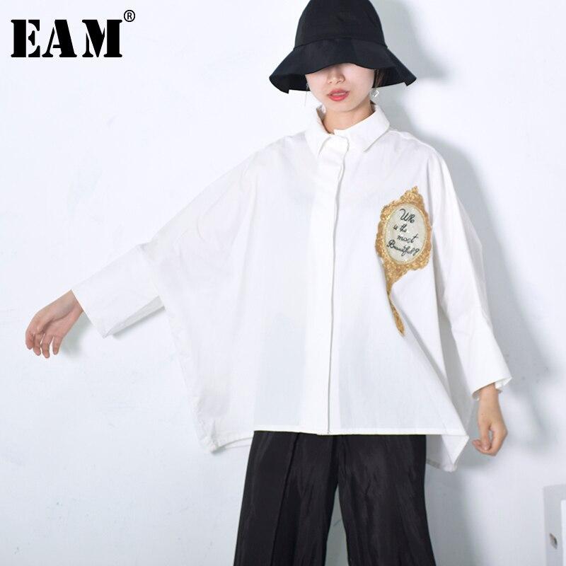 [EAM] 2018 Nouvelle Automne De Mode Nouveau Miroir Lettre Broderie Blanc Grande Taille Chemise Coréenne Lâche Blouse Femme Mode marée T38400
