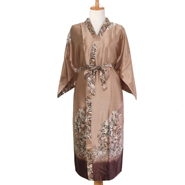 24f2555bd Wholesale Chinese Men Satin Robe Gown Novelty Print Kimono Geisha Bathrobe  Loose Casaul Sleepwear Novelty Home Wear One Size
