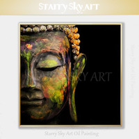 Skilled Artist Hand painted High Quality Impressionist Portrait Buddha Face Oil Painting on Canvas Fine Art Buddha Oil Painting