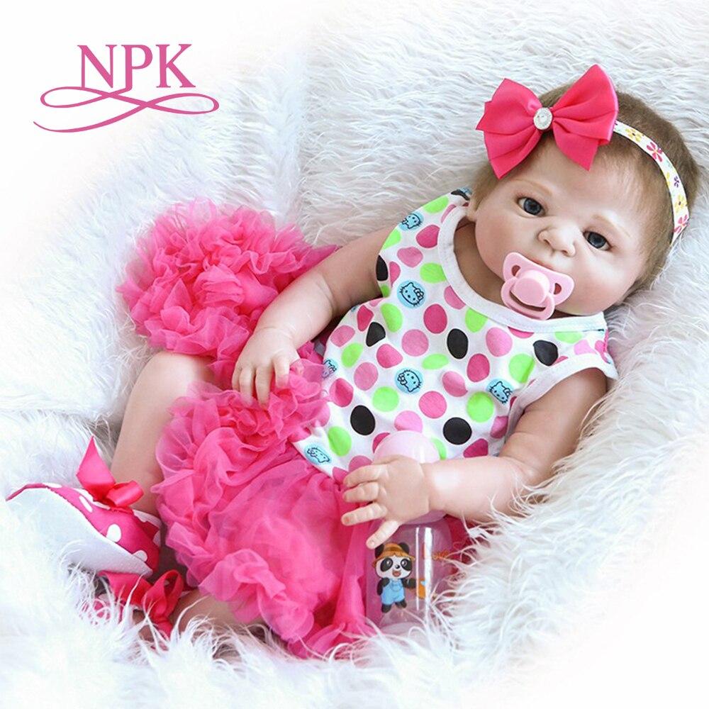 NPK 46CM Soft Silicone Reborn Dolls Baby Realistic Doll Reborn Full Vinyl Boneca BeBe Reborn Doll For Girls
