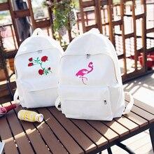 Ecoparty подростков женские дорожные сумки Mochilas Рюкзак Школьные сумки Женщины Холст Рюкзак Симпатичные Модные с принтом розы рюкзаки