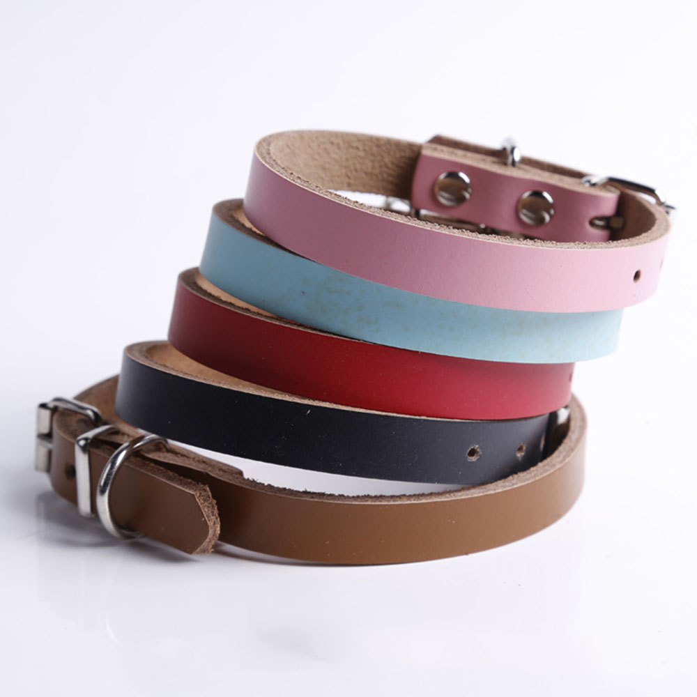 Dog Collar Lovely Pets Necklace Personalized Adjustable PU Leather Dog Puppy Cat Collars Necklace 5 Colors XS/S/L/M