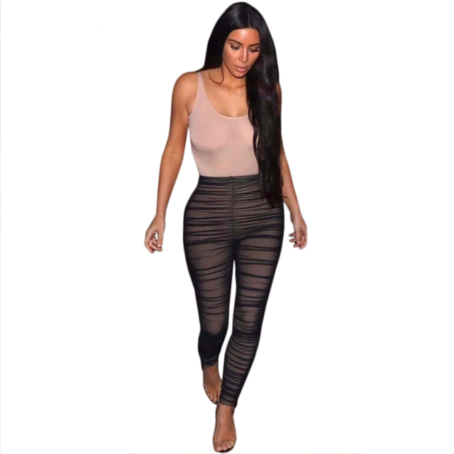 2114ea3c6c3 kim kardashian Black Nude Mesh Jumpsuits 2017 New Summer Women Sexy  Sleeveless Stretchy Bodycon Rompers Party Club Cool Overalls