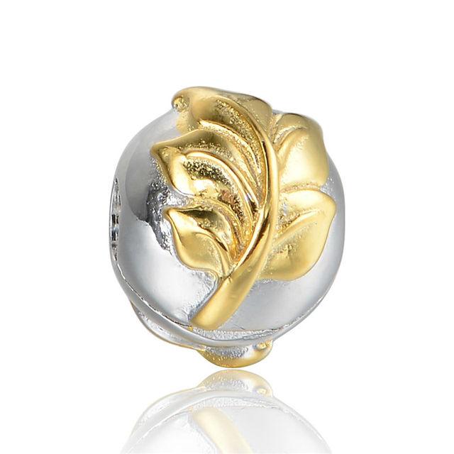 Banhado A ouro Folhas Clipe Encantos Fazer Jóias DIY para As Mulheres Moda 925 Sterling Silver Jewelry Fit Pan Pulseiras Marca Charme