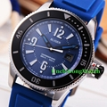 Bliger 43mm Black Dial Sub Style Mens Automatic Watch Black Bezel White Luminous Mark Clock Blue Rubber StrapTimepiece BA4301SWL