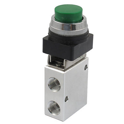 JM-322PPL 13mm Thread 2 Position 3 Way Green Push Button Air Mechanical Valve 1 3 10 male thread push button type toilet flush valve zmm