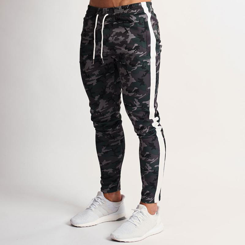 Men Pants Trousers Sportswear Leggings Patchwork Fitness Male Camouflage Casual Colour