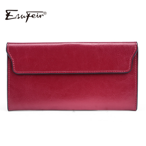 ESUFEIR Brand 2019 Fashion Genuine Leather Women Wallet Long Cowhide Multiple Cards Holder Clutch Female Purse Standard Wallets(China)