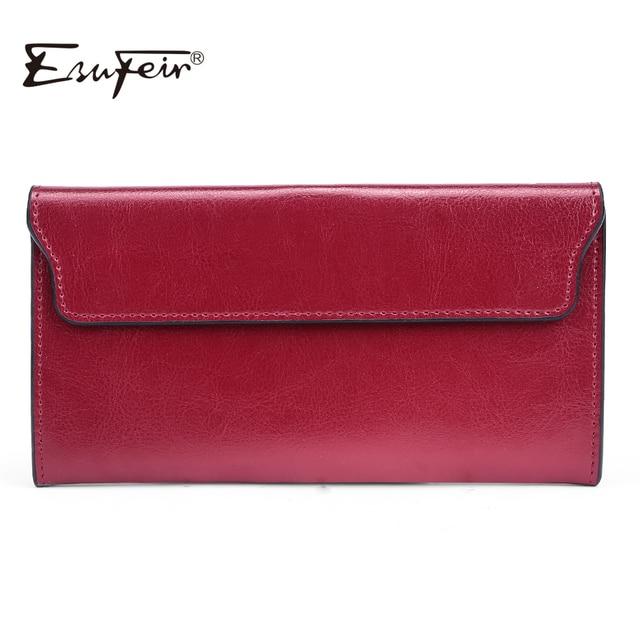 ESUFEIR Brand 2020 Fashion Genuine Leather Women Wallet Long Cowhide Multiple Cards Holder Clutch Female Purse Standard Wallets