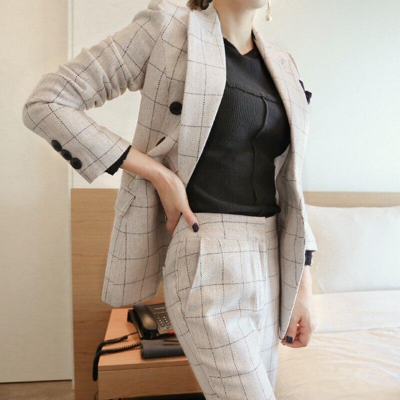 2018 automne élégant bureau dame pantalon costume ensemble femmes affaires travail porter deux pièces ensemble Plaid veste Blazer & Slim pantalon ensemble - 3