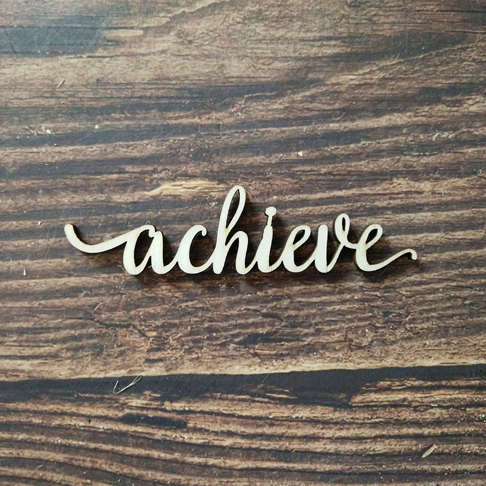 US $23.23 Achieve Letter Wood Laser Cut Wooden Signs Wall Home Decor Quote  Signs Art Craft Word Wedding Party DecorsParty DIY Decorations -