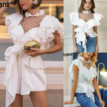 Fashion Womens Ladies Sleeved Wrinkled Tops Chiffon Mesh shirts Blouse  Elegant