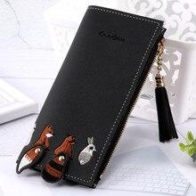 Women Bag Fox Cat Long Tassel Coin Card Holders Handbag Package womens wallets and purses billeteras para mujer monederos clip