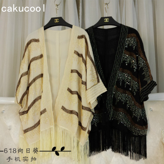 Cakucool Women Sequined Chiffon Jackets Beading Tassels Cappa Sun Protective Outerwear Bohemian Lady Top Open Stitch Coat Summer