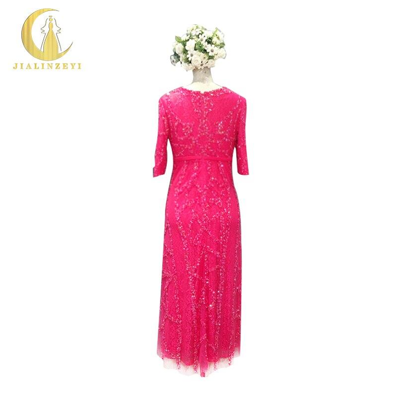 Rhin Image réelle échantillon demi manches pièces de perles rouges dentelle cheville longueur mode femme robe mère de mariée robes