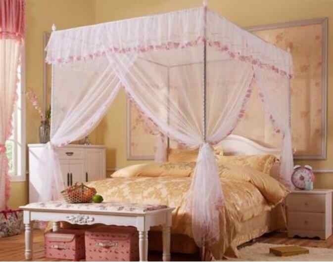 White Lace Flower Four Corner Post Bed Canopy Mosquito Netting Twin size With Frame