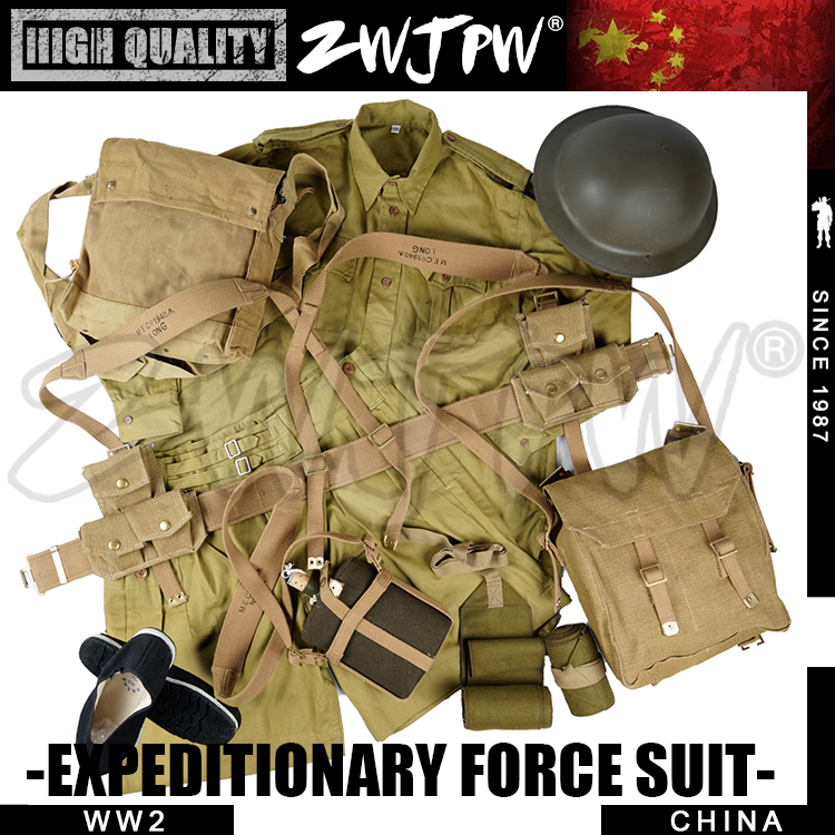 WW2 CHINESE EXPEDITIONARY FORCE UNIFORM UK P37 EQUIPMENT SUITS&HELMET&EUIPMENT&SHOES COMBINATION 1