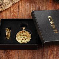 Golden Hollow Deer Pattern Mechanical Pocket Watch Vintage Double Side Steampunk Fob Clock Male Necklace Watch Chain Women Men