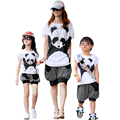 Family Matching Outfits Matching Mother Daughter Clothing Set Cartoon Panda Tops+Lantern Pants 2pcs Set Summer Family Clothes