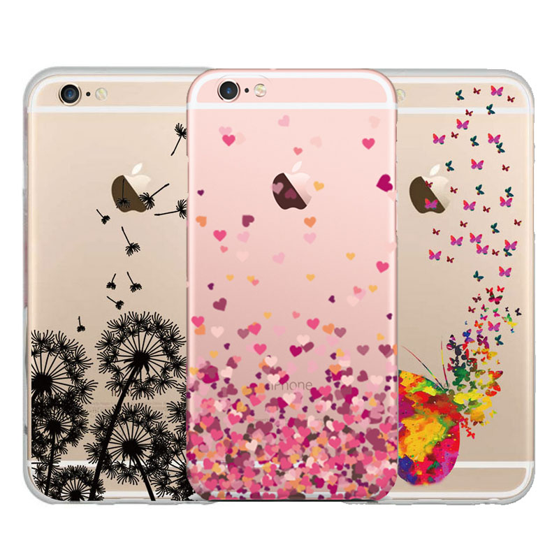 mobile phone bag case For Apple Iphone 5 5s case Silicon Dandelion Butterfly Feather painted Cases for iphone 5 back cover
