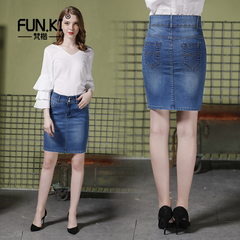 FUNKI 2018 New Fashion Women Jeans Skirts Plus Size 4XL Pencil Skirts Slim High Waist Denim Skirt For Female Mujer