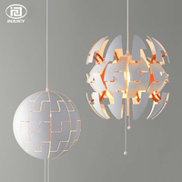 Postmodern Nordic Mosaic Shaped Art LED Chandeliers White Ball Deco Chandeliers Bedroom Cafe Restaurant Art D